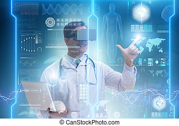 Telemedicine concept with doctor wearing VR glasses