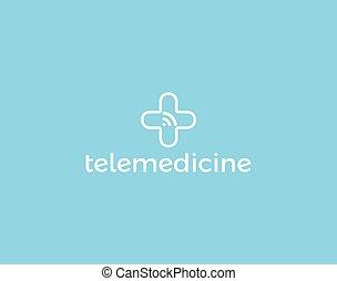 Telemedicine logo concept, isolated vector medical cross and wifi signal icon. Tele medicine technology logotype, medical digital consultation service, app.