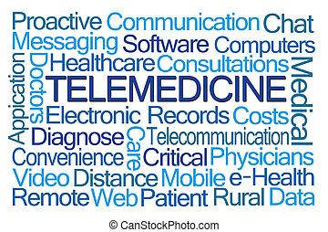 telemedicine, palavra, nuvem
