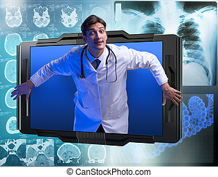telemedicine, smartphone, doktor, begriff