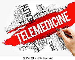 Telemedicine word cloud collage, health concept
