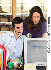 Teleoperator working in a call center