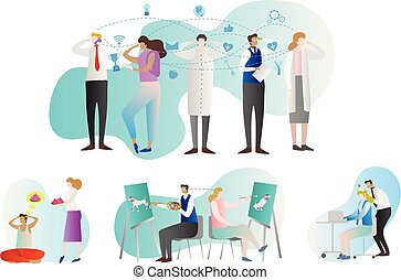 Telepathy vector illustration collection. People group with examples of brain paranormal activity. Communication with thoughts. Genius person mind reading or prediction.