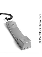 Telephne handle - An isolated telephone handle on white