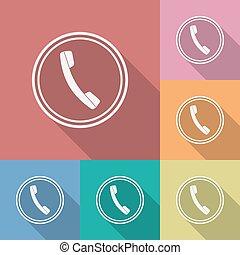 telephone., 平ら, スタイル, 電話, アイコン