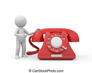 telephone - A 3d person introducing a red phone call