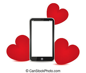 telephone and red hearts