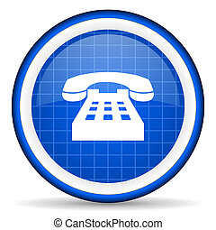 telephone blue glossy icon on white background