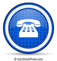 telephone blue glossy icon on white background