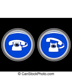 telephone blue icons against black