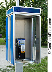 Telephone Booth - An open style telephone booth outside