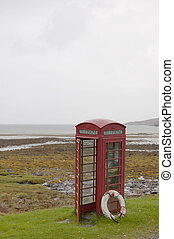 Telephone box and lifebelt on Rum