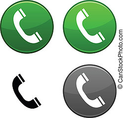 Telephone button. - Telephone round buttons. Black icon ...