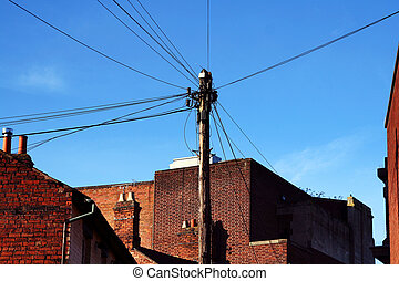 telephone communication lines connection. urban wire network...