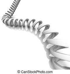 Telephone cord on white background.