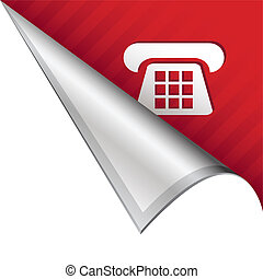 Telephone corner tab - Telephone or contact icon on vector...