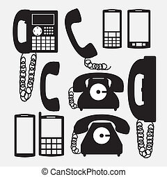 Telephone design over white background, vector illustration