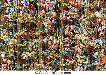 Telephone exchange wires in street cabinet