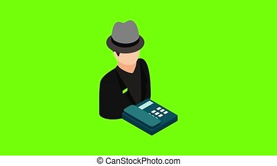 Telephone fraud icon animation cartoon best object on green screen background