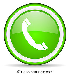 telephone green glossy icon on white background