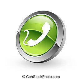 Telephone - Green sphere button - A high resolution green ...