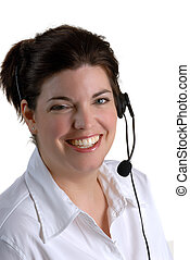 Telephone Help - Smiling Call Centre Young Woman