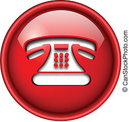 Telephone contact icon, button, 3d red glossy circle.