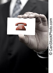 Telephone icon contact card