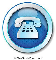 Telephone icon - Illustration metallic icon for web...