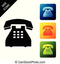 Telephone icon isolated on white background. Landline phone. Set icons colorful square buttons. Vector Illustration