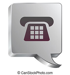 Telephone icon on steel bubble - Telephone or contact icon...