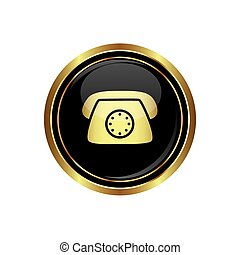 Telephone icon on the black