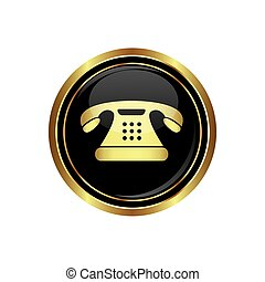 Telephone icon on the black