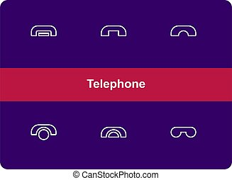 Telephone icon set with outline style. Editable vector. Isolated.