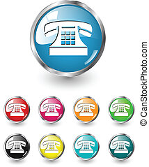 Telephone icon sign, multicolored vector set