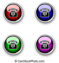 telephone icons  - Glossy telephone icons