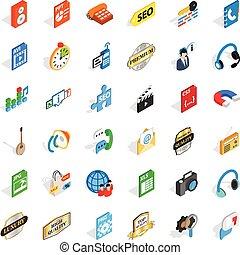 Telephone icons set, isometric style