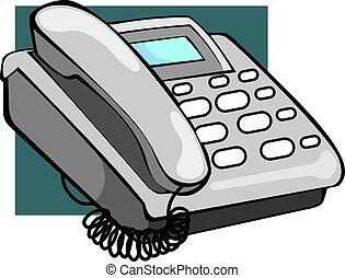 Telephone - Illustration of ash coloured telephone with...