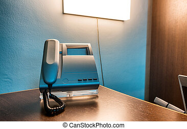 Telephone in a modern office interior