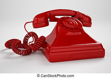 Telephone. - Isolated old-fashioned red telephone on a white...