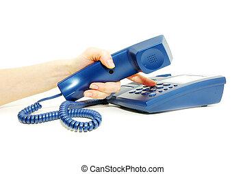telephone keypad - finger with  blue telephone keypad