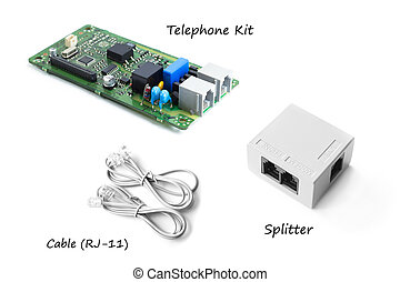 Telephone kit or FAX kit with splitter and cable
