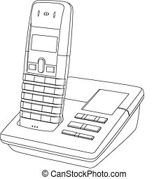 Line drawing of a wireless telephone/answer machine in its cradle