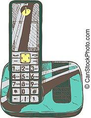 telephone., moderno, cordone