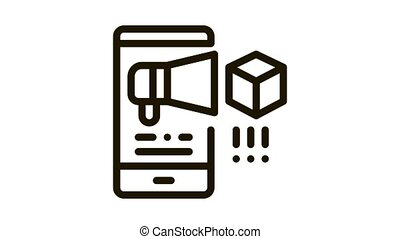 telephone notification of parcel Icon Animation. black telephone notification of parcel animated icon on white background