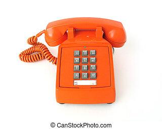 Telephone - Old-school orange telephone, focus on buttons.