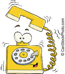 Telephone on a white background, vector illustration