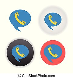 Telephone on word bubble speech on white background