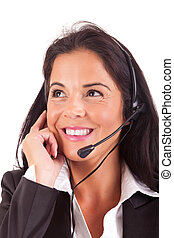 Telephone Operator - Friendly young beautiful telephone ...