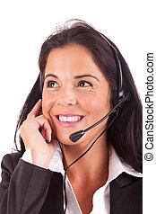 Telephone Operator - Friendly young beautiful telephone ...